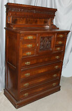 Victorian Antique Walnut Lockside Chest of Drawers High Boy