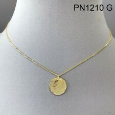 Gold Finished Mini Dime Franklin Roosevelt Coin Shape Circle Pendant Necklace