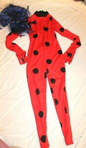 Spirit Halloween Miraculous Ladybug Suit Child Small (4-6) Bodysuit Blue Wig