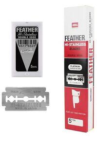 100 FEATHER hi-stainless platinum double edge shaving Safety razor blades JAPAN