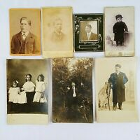 Vintage Cabinet Card Post Card Photographs Studio Men Children Baby Lot Of 7