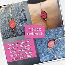 Bracelet Médaille Rose Flashy Croix Plaque Or de Qualité Ref Gigi4 Solde