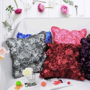 NE_ JW_ Stylish Satin Rose Flower Cushion Cover Throw Pillow Case Home Sofa Bed