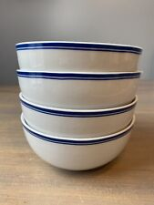 Williams Sonoma Open Kitchen Cereal Bowls Bistro Blue Stripe Trim White