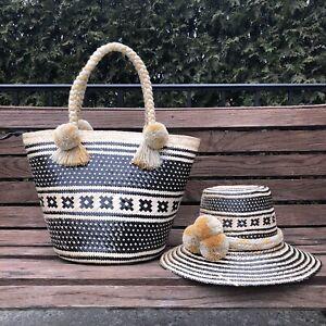 Combo Handmade Colombian Iraka Straw Basket And Hat sombrero Y Canasta Wayuu