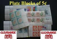 Lot of 15 Vintage Plate Blocks of 5¢ Mint Full Gum - 99¢ Postage Canada - FV 3$