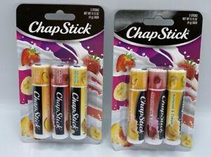 Lot of 6 ChapStick Peach, Strawberry and Banana Cream Lip Balm Chap Stick A15