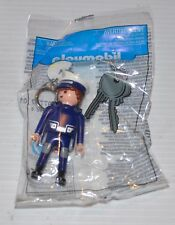 PLAYMOBIL Police Man Figure Keychain/ Key Ring SEALED BAG 2011