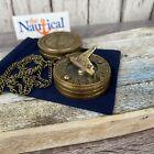 "Antique Finish Brass Sundial Compass w/ Lid & 27"" Chain & Bag -Small Mini Pocket"