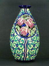 Superbe Ancien Grand Gros Vase Emaux Boch Keramis D2880 1940 32cms Top+++