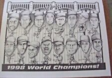"RARE ~  N.Y. YANKEES PRINT ~ 1998 WORLD CHAMPIONS ~ 19"" x 25"" ~ BLACK & WHITE"