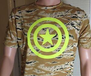 UNDER ARMOUR Large Alter Ego Neon CAPTAIN AMERICA CAMO Compression Shirt 1244399