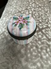 French Limoges Round Box Pink Blue Black Floral Flower France Fancy Sweet Cute