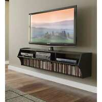"""Floating TV 58"""" Wall Stand Mounted Entertainment Media DVD Console Center Black"""