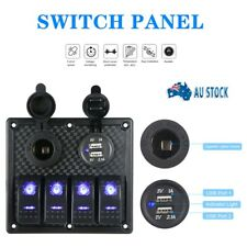 12V Switch Panel 4 Gang Waterproof Dual USB Rocker ON-OFF Toggle Car Marine Boat