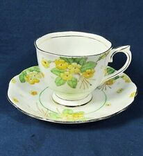 Royal Albert China Yellow Floral,Green Leaf Countess Shape,Footed Teacup,Saucer