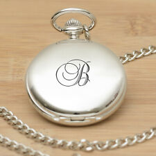 Pocket Watch With Initial Letter - Personalised Engraved Gift Fob