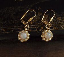 Vintage Redondo ópalo de fuego y gota de perla semilla Gancho Perforado Pendientes Chapado en Oro