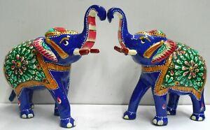 Elephant Trunk Up Aluminium Metal Statue Decorative Indian Art (set of 2 Pcs )