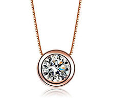 18K Rose Gold GP Austria Crystal AAA CZ Zircon Pendant Bridal Choker Necklace