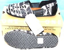 AUTHENTIC TOMS Shoes Alpargata Huarache Black Leather & Multi Color Fabric SIZE5
