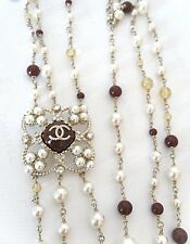 $3925+ CHANEL Pearl Multi Gripoix Stones 3 Strand Beads Runway Necklace NWT