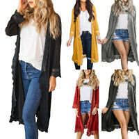 Women Long Sleeve Cardigan Tops Casual Lace Loose Outwear Trench Coat Jacket UK