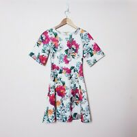 Closet London Womens Size UK8 US4 White Colorful Floral Fit & Flare Tea Dress