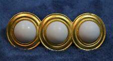 Vintage Goldtone Made in France 3 White Circles Barrette Hair Brooch Clip