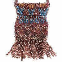 Vintage Amulet Medicine Bag Necklace Glass Seed Beads Stash Crystal Bag Festival
