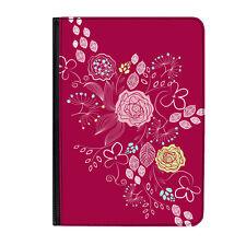 "Purple Flowers Rose Floral Universal Tablet 9-10.1"" Leather Flip Case Cover"