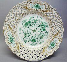 (G3399) Meissen Durchbruchteller,Indisch grün reich, 1.Wahl, D =18 cm