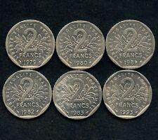 Lot Of 6 France 2 Franc Coins 1979 1980 1981 1982 1983 &1993