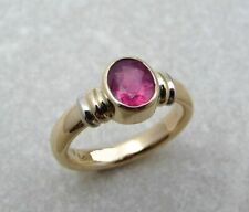 3Ct Oval Cut Red Ruby Bezel Set Solitaire Statement Ring Yellow Gold Fnsh Silver