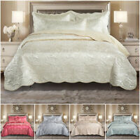 Jacquard Quilted Bedspread Bed Throw Comforter Double King Size Bedding Set