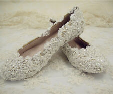 Handmade Ivory Floral Beaded Lace Bridal Shoes Flat Pearl Wedding Shoe UK3-9