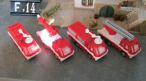 4  Feuerwehrfahrzeuge,     =  F,14  =    Spur N  / TT    LKW     Autos