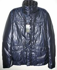 FB Nextrend Blue Shiny Winter Warm Hood Men's Jacket Size US 44 XL EU 54 Italy