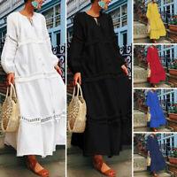 Vintage Damen V-Ausschnitt Spitze Crochet Abendkleid Partykleid Maxikleid Plus
