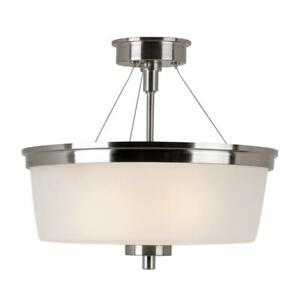 Bel Air Lighting 2-Light Brushed Nickel Semi Flush-mount with Frosted Glass
