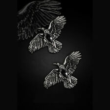 RESTYLE BLACK DIAMOND RAVENS - PAIR OF GOTHIC HAIRCLIPS. SYNTHETIC BLACK STONES