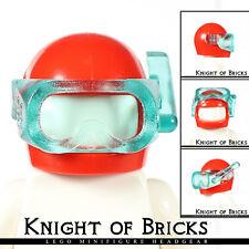 LEGO Minifigure RED Headgear Helmet w TRANS BLUE Visor Scuba Diver Mask