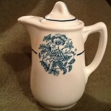 Ironstone Teal Blue Transfer Ware One Cup Tea Pot Walker Co OHIO  5.5 T Vintage