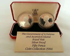 Sterling silver proof set.Gov.of St Helena& Ascension Island 1984 Royal visit