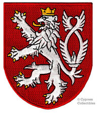 CZECH COAT OF ARMS embroidered PATCH iron-on BOHEMIAN LION CREST APPLIQUE new