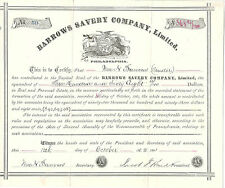 Pennsylvania, Barrows Savery Company Ltd Stock Certificate 1881 Philadelphia
