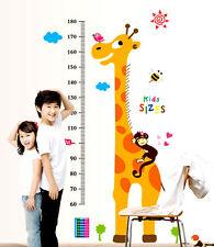 Giraffe Monkey Height Chart Wall Stickers Removable Kids Nursery Room Home Decor