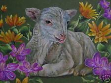 ACEO   Sheep Lamb Farm animal Wildflower print