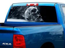 P493 Smoking Skull Rear Window Tint Graphic Decal Wrap Back Truck Tailgate
