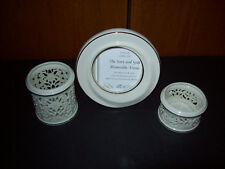 Lot of 3 Lenox  Picture Frame and Tealight Candle Holders Gold Trim